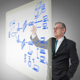 Businessman touching on screen Royalty Free Stock Photography