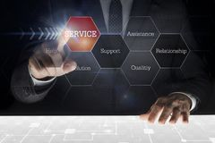 Businessman touching screen. With caption ` Service royalty free stock photos