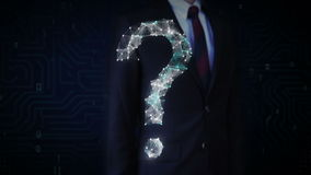 Businessman touching screen, Digital lines create question mark shape, digital concept.