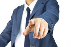 Businessman Touching Screen or Pushing Button on White Backgroun Royalty Free Stock Image