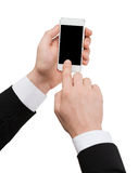 Businessman touching screen of smartphone Royalty Free Stock Photography