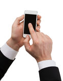 Businessman touching screen of smartphone Royalty Free Stock Images