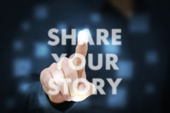 Businessman. Touching Share Your Story Stock Photo