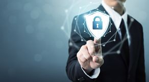 Free Businessman Touching Shield Protect Icon, Concept Cyber Security Stock Photos - 133846513