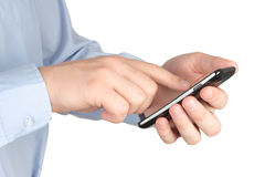 Businessman touching smart phone Royalty Free Stock Image