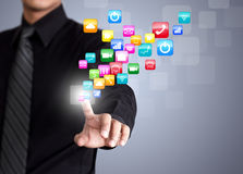 Businessman touching social network icon Stock Images