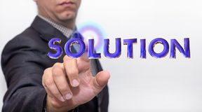 Touching solution word on air royalty free stock images
