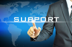 Businessman touching  SUPPORT sign Stock Photography