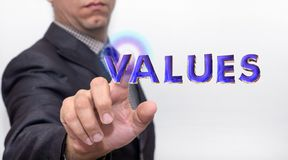 Touching values word on air royalty free stock image