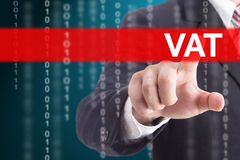 Businessman touching  VAT. Businessman touching VAT sign for control and management your company Royalty Free Stock Image