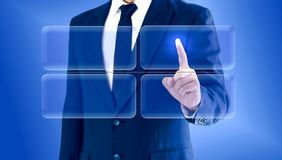 Businessman touching virtual buttons chart matrix. Copy space for your text or image. Businessman touching virtual buttons chart matrix..Copy space for your text royalty free stock photos
