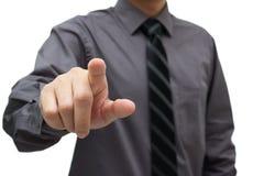 Businessman touching virtual interface. Businessman hand pushing on a virtual interface Royalty Free Stock Images