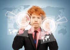 Businessman touching virtual screen Royalty Free Stock Photos