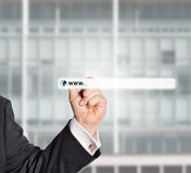Businessman touching web browser Stock Photos
