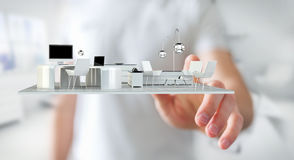 Businessman touching white 3D rendering apartment Stock Images
