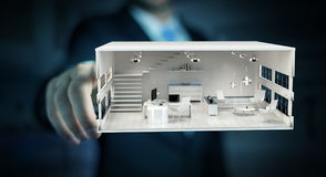 Businessman touching white 3D rendering apartment Royalty Free Stock Photography