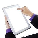Businessman touching white screen digital tablet Stock Photos