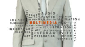 Businessman touching the word multimedia. Against white background with buzz words appearing stock video footage