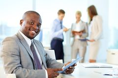 Businessman with touchpad Royalty Free Stock Photo