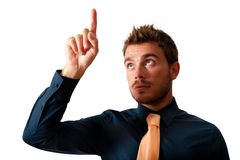 Businessman and touchscreen Royalty Free Stock Image