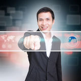 Businessman With Touchscreen Royalty Free Stock Images