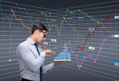 The businessman trader in stock exchange concept. Businessman trader in stock exchange concept royalty free stock images