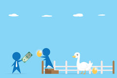 Businessman trading money and golden egg from goose, business concept Royalty Free Stock Images