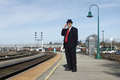 Businessman at a train station Stock Photography