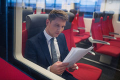 Businessman in a train Royalty Free Stock Photo