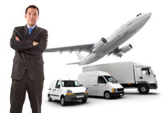 Businessman and transport logistics Stock Photo