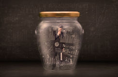 Businessman traped in jar with graph chart symbols concept Stock Image