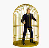 Businessman Trapped in Cage - includes clipping path Royalty Free Stock Image