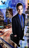 Businessman travel. Composite / photo illustration of a man and downtown Los Angeles Stock Photos