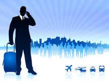 Businessman traveler with city skyline Royalty Free Stock Photography
