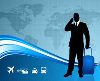 Businessman traveler with world map background Stock Photography