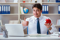 The businessman traveling agent working in the office Stock Photo