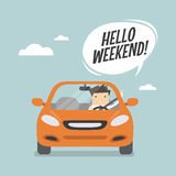 Businessman traveling by car and say Hello weekend. Royalty Free Stock Photos