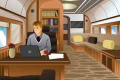 Businessman Traveling in a Luxurious Private Jet. A vector illustration of businessman traveling in a luxurious private jet Royalty Free Stock Photo