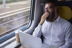 Businessman traveling by train Stock Photography