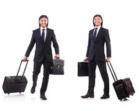 Businessman travelling isolated on white Stock Photos
