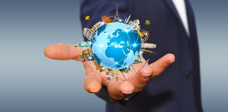 Businessman travelling the world Stock Images