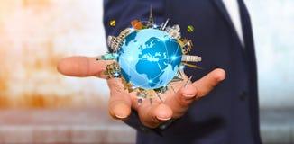 Businessman travelling the world Stock Photo