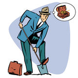 Businessman treasure hunter dreams money business Royalty Free Stock Photos