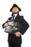 The businessman with tricorn and briefcase isolated on white Stock Photos