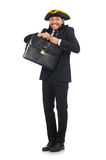 The businessman with tricorn and briefcase isolated on white Royalty Free Stock Images