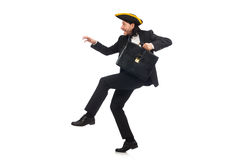 The businessman with tricorn and briefcase isolated on white Royalty Free Stock Image