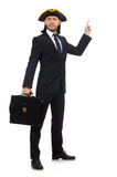 Businessman with tricorn and briefcase isolated on white Stock Image