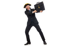 The businessman with tricorn and briefcase  on white Royalty Free Stock Photo