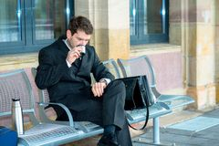Businessman on trip has a break Royalty Free Stock Photography