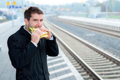 Businessman on trip has a break Royalty Free Stock Photos